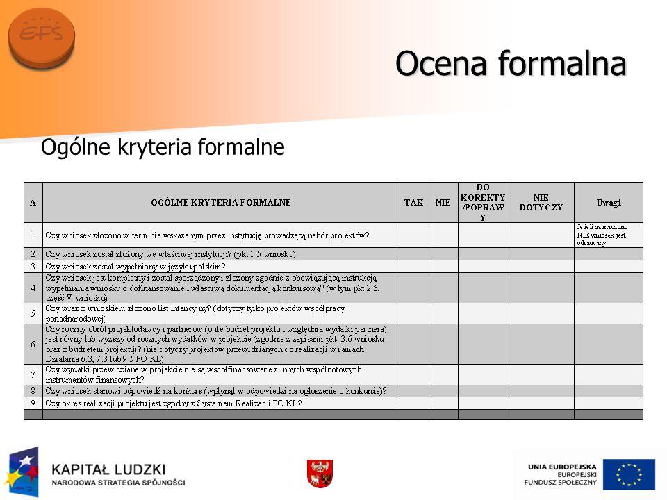 Ocena formalna Ogólne kryteria formalne