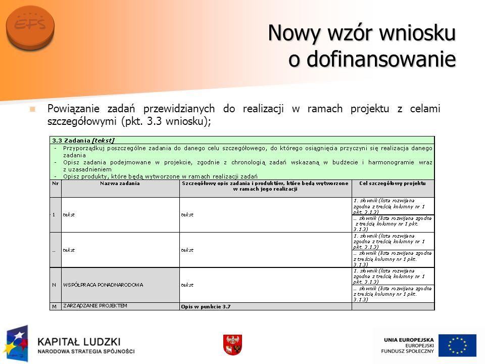 Nowy wzór wniosku o dofinansowanie Powiązanie zadań przewidzianych do realizacji w ramach projektu z celami szczegółowymi (pkt.