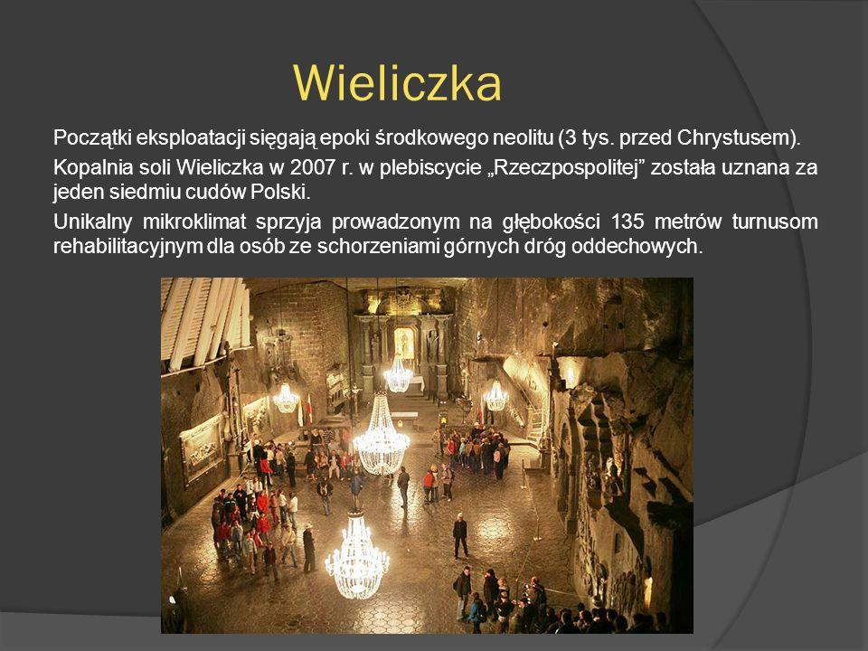 Wieliczka Początki eksploatacji sięgają epoki środkowego neolitu (3 tys. przed Chrystusem). Kopalnia soli Wieliczka w 2007 r. w plebiscycie Rzeczpospo