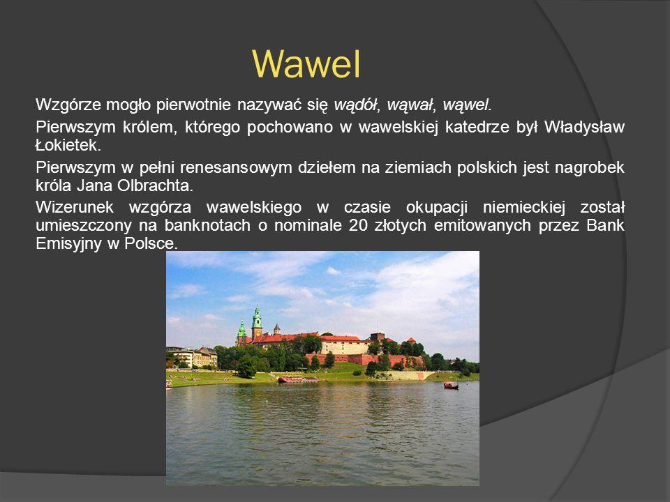 Wawel Wzgórze mogło pierwotnie nazywać się wądół, wąwał, wąwel. Pierwszym królem, którego pochowano w wawelskiej katedrze był Władysław Łokietek. Pier