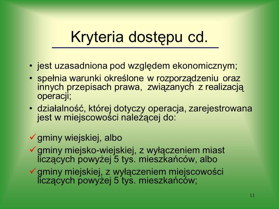 11 Kryteria dostępu cd.