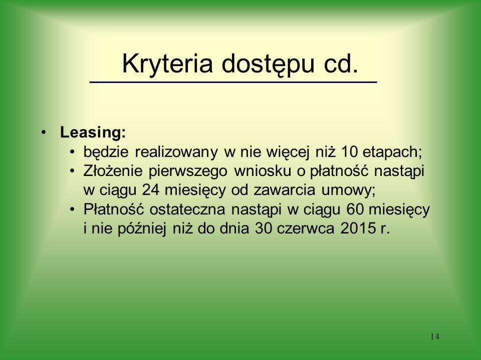 14 Kryteria dostępu cd.