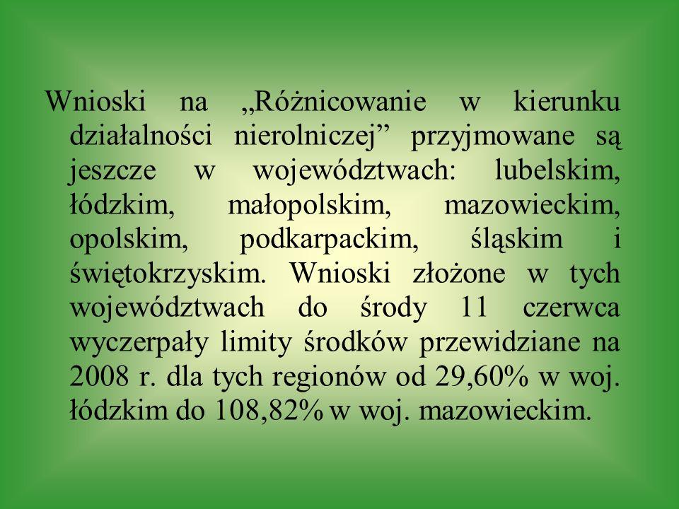 Wnioski na Różnicowanie w kierunku działalności nierolniczej przyjmowane są jeszcze w województwach: lubelskim, łódzkim, małopolskim, mazowieckim, opolskim, podkarpackim, śląskim i świętokrzyskim.