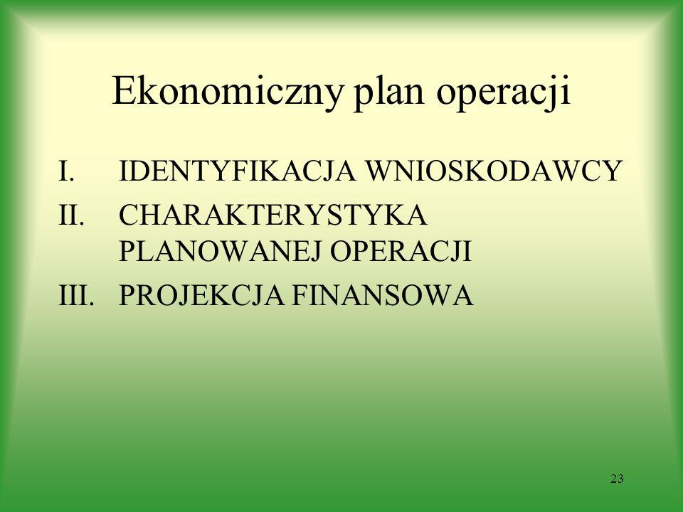 23 Ekonomiczny plan operacji I.IDENTYFIKACJA WNIOSKODAWCY II.CHARAKTERYSTYKA PLANOWANEJ OPERACJI III.PROJEKCJA FINANSOWA