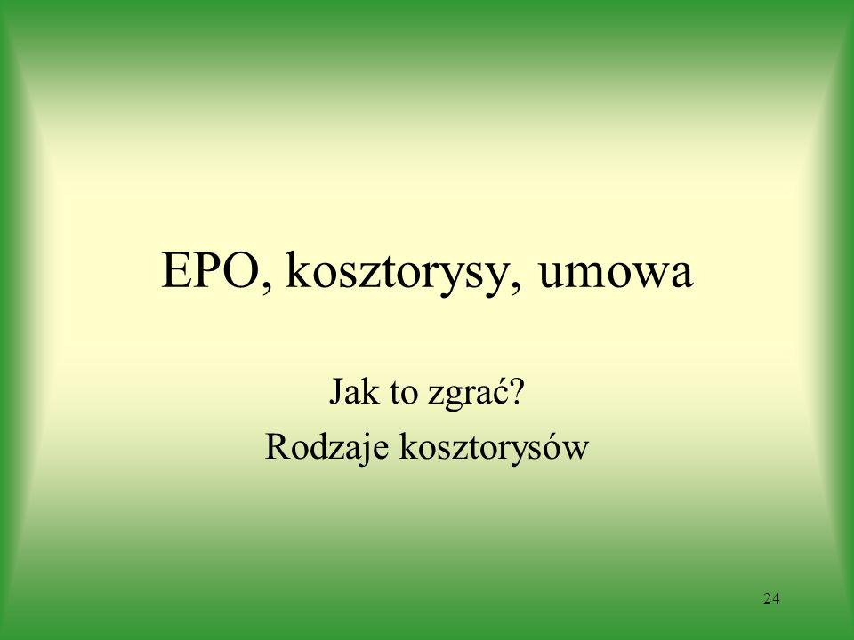 24 EPO, kosztorysy, umowa Jak to zgrać Rodzaje kosztorysów