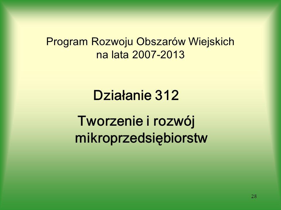 28 Program Rozwoju Obszarów Wiejskich na lata 2007-2013 Działanie 312 Tworzenie i rozwój mikroprzedsiębiorstw