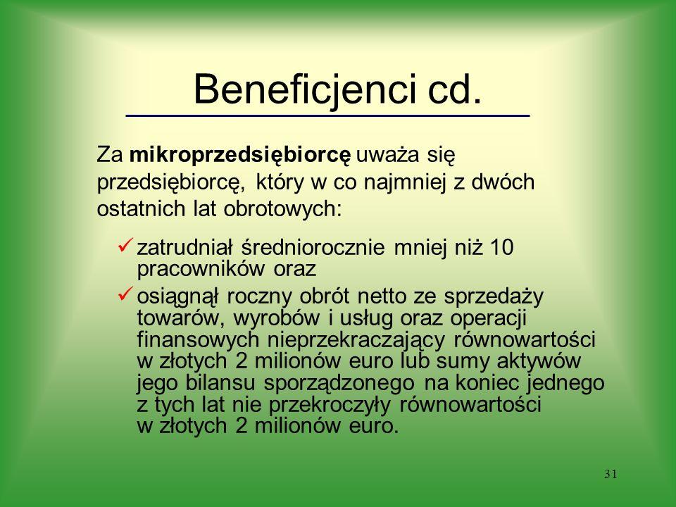 31 Beneficjenci cd.