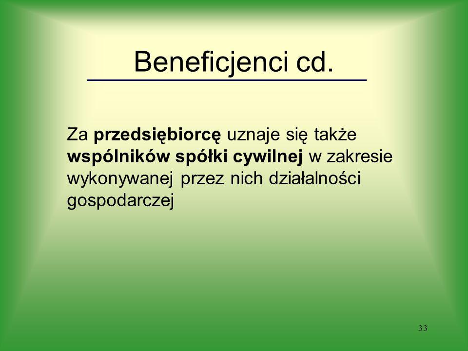 33 Beneficjenci cd.