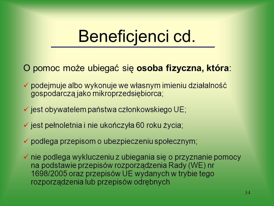 34 Beneficjenci cd.