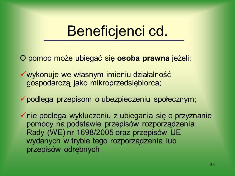 38 Beneficjenci cd.