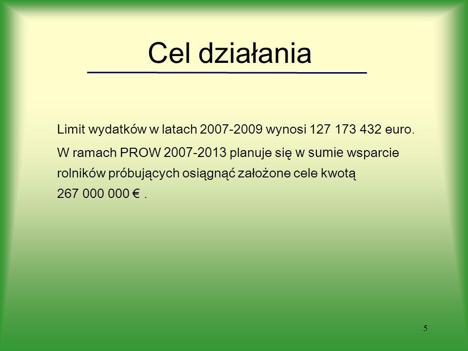 5 Cel działania Limit wydatków w latach 2007-2009 wynosi 127 173 432 euro.