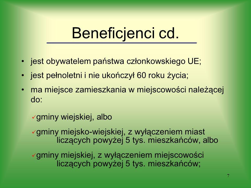 7 Beneficjenci cd.