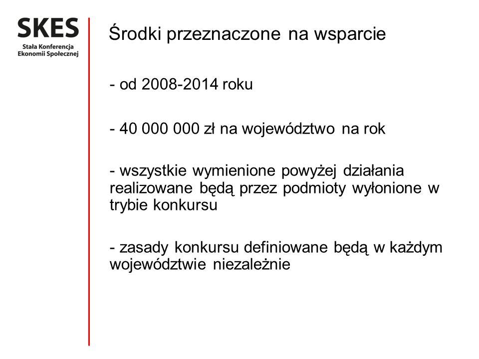 Środki przeznaczone na wsparcie - od 2008-2014 roku - 40 000 000 zł na województwo na rok - wszystkie wymienione powyżej działania realizowane będą pr