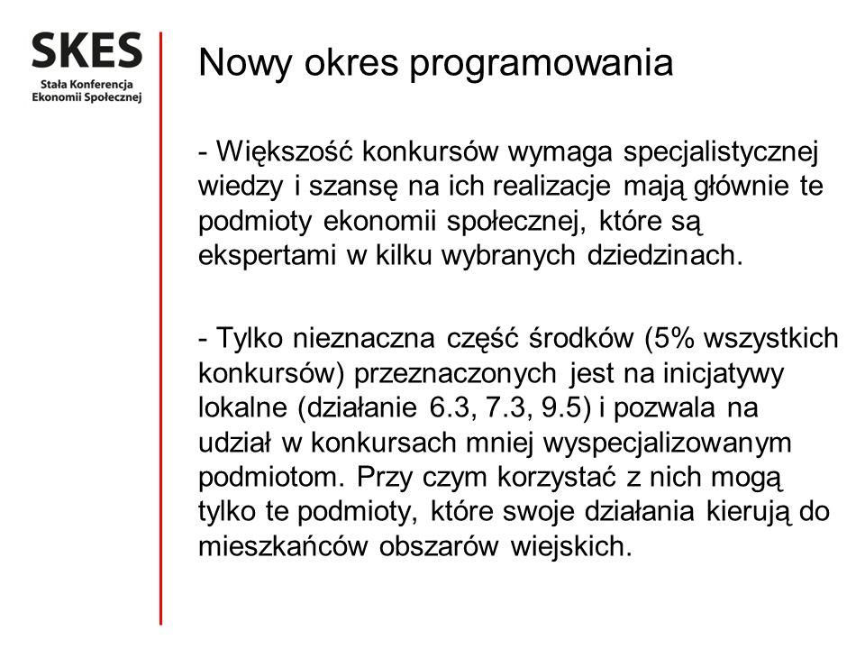 Nowy okres programowania - Większość konkursów wymaga specjalistycznej wiedzy i szansę na ich realizacje mają głównie te podmioty ekonomii społecznej, które są ekspertami w kilku wybranych dziedzinach.