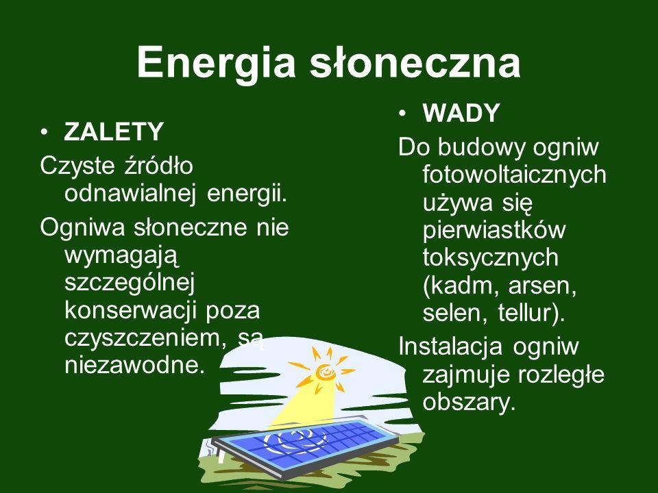 Energia słoneczna ZALETY Czyste źródło odnawialnej energii. Ogniwa słoneczne nie wymagają szczególnej konserwacji poza czyszczeniem, są niezawodne. WA