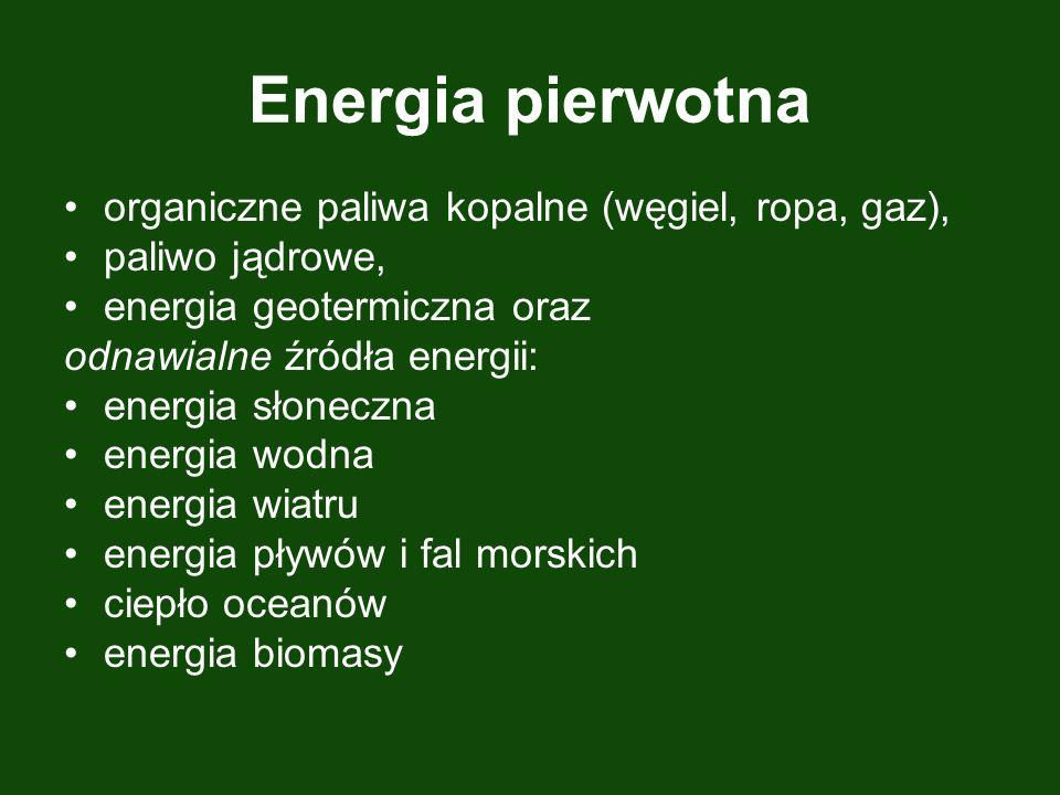 Energia pierwotna organiczne paliwa kopalne (węgiel, ropa, gaz), paliwo jądrowe, energia geotermiczna oraz odnawialne źródła energii: energia słoneczna energia wodna energia wiatru energia pływów i fal morskich ciepło oceanów energia biomasy