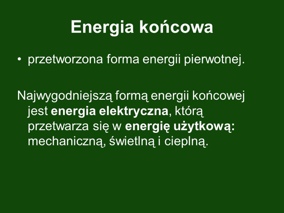 Energia końcowa przetworzona forma energii pierwotnej. Najwygodniejszą formą energii końcowej jest energia elektryczna, którą przetwarza się w energię