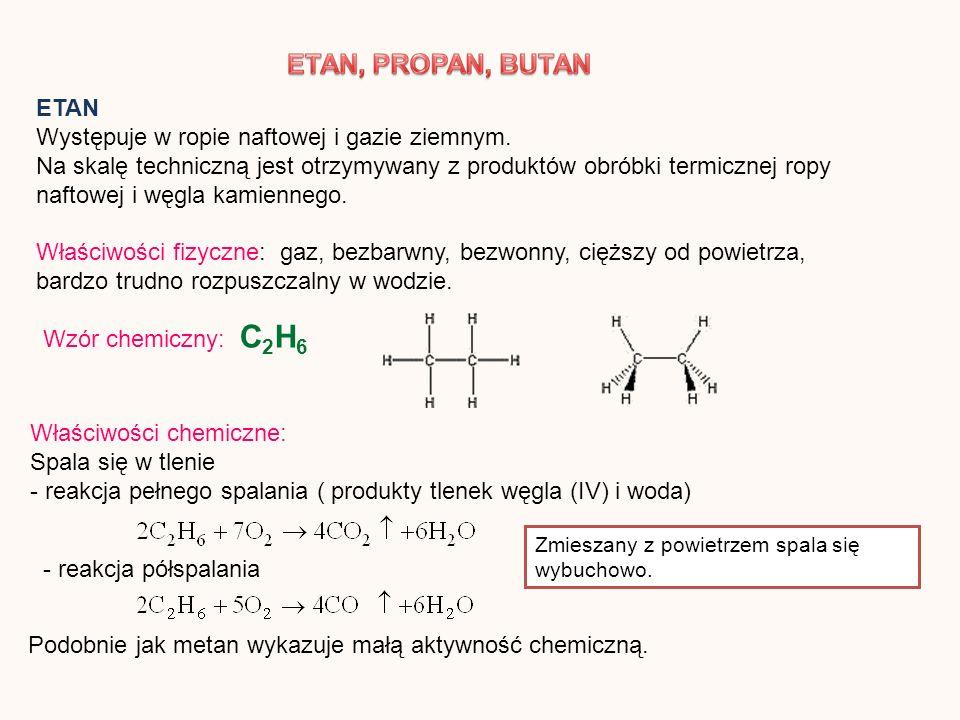 ETAN Występuje w ropie naftowej i gazie ziemnym. Na skalę techniczną jest otrzymywany z produktów obróbki termicznej ropy naftowej i węgla kamiennego.