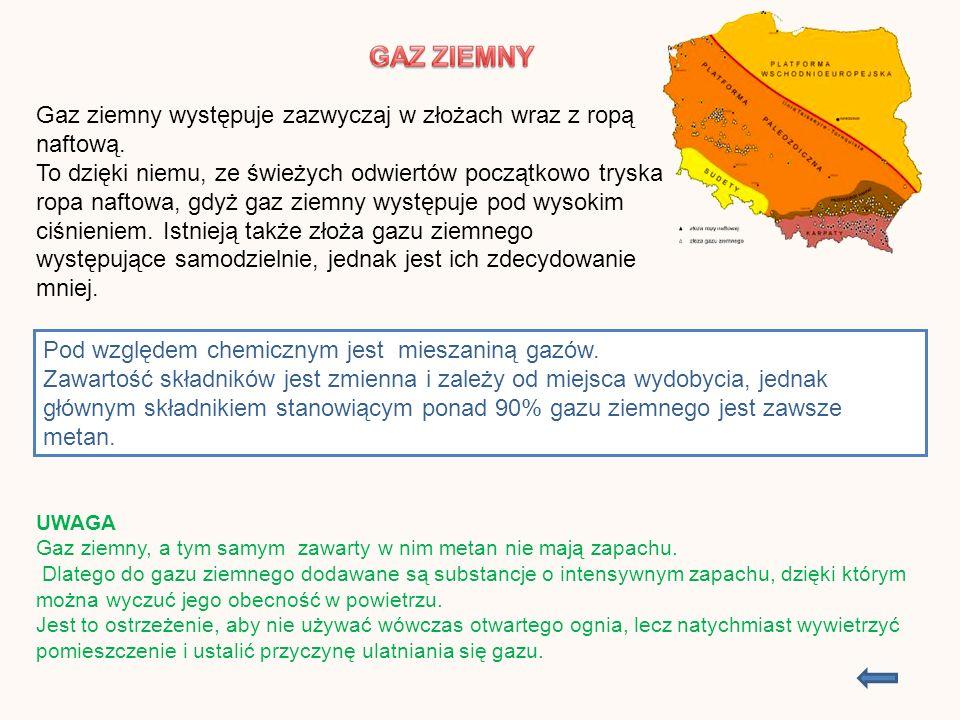 Właściwości fizyczne: Stan skupienia – lotny Barwa – bezbarwny Zapach – bezwonny Gęstość – lżejszy od powietrza Rozpuszczalność w H 2 O – bardzo trudno rozpuszcza się w wodzie Wzór sumaryczny i strukturalny cząsteczki metanu Wzór sumaryczny - CH 4 Wzór strukturalny ( kreskowy) UWAGA.