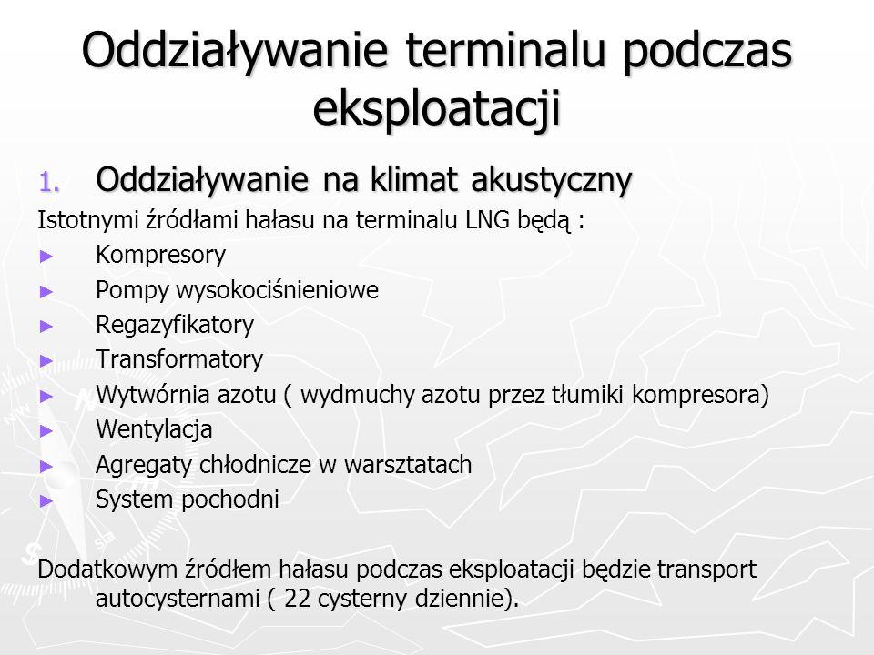 Oddziaływanie terminalu podczas eksploatacji 1. Oddziaływanie na klimat akustyczny Istotnymi źródłami hałasu na terminalu LNG będą : Kompresory Pompy