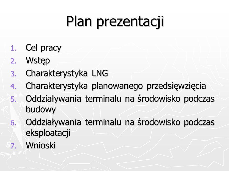 Plan prezentacji 1. Cel pracy 2. Wstęp 3. Charakterystyka LNG 4. Charakterystyka planowanego przedsięwzięcia 5. Oddziaływania terminalu na środowisko