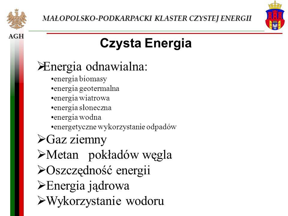 AGH MAŁOPOLSKO-PODKARPACKI KLASTER CZYSTEJ ENERGII Czysta Energia Energia odnawialna: energia biomasy energia geotermalna energia wiatrowa energia sło