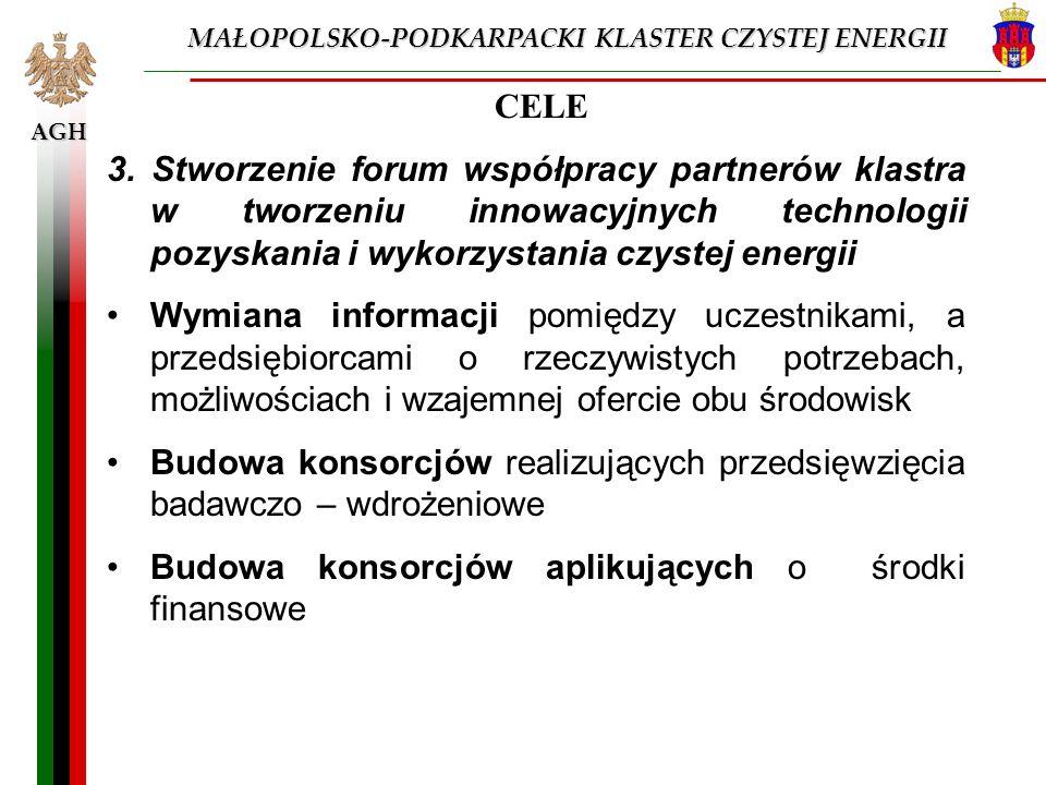 AGH CELE 3. Stworzenie forum współpracy partnerów klastra w tworzeniu innowacyjnych technologii pozyskania i wykorzystania czystej energii Wymiana inf