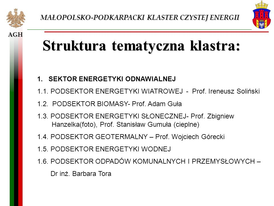 AGH MAŁOPOLSKO-PODKARPACKI KLASTER CZYSTEJ ENERGII Struktura tematyczna klastra: 1. SEKTOR ENERGETYKI ODNAWIALNEJ 1.1. PODSEKTOR ENERGETYKI WIATROWEJ