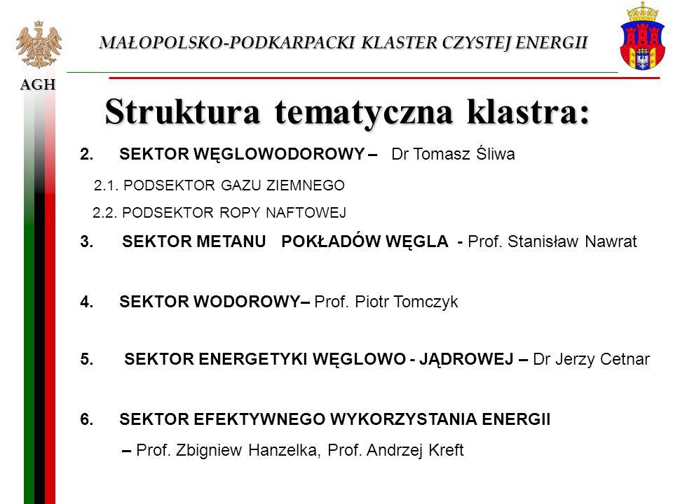 AGH MAŁOPOLSKO-PODKARPACKI KLASTER CZYSTEJ ENERGII Struktura tematyczna klastra: 2. SEKTOR WĘGLOWODOROWY – Dr Tomasz Śliwa 2.1. PODSEKTOR GAZU ZIEMNEG