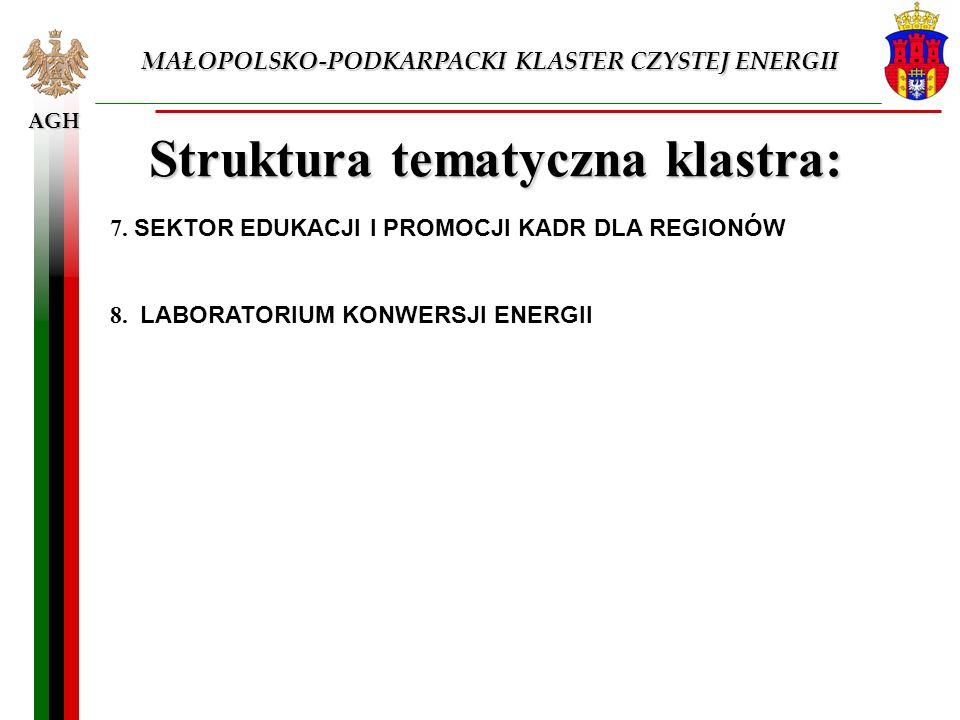 AGH MAŁOPOLSKO-PODKARPACKI KLASTER CZYSTEJ ENERGII Struktura tematyczna klastra: 7. SEKTOR EDUKACJI I PROMOCJI KADR DLA REGIONÓW 8. LABORATORIUM KONWE