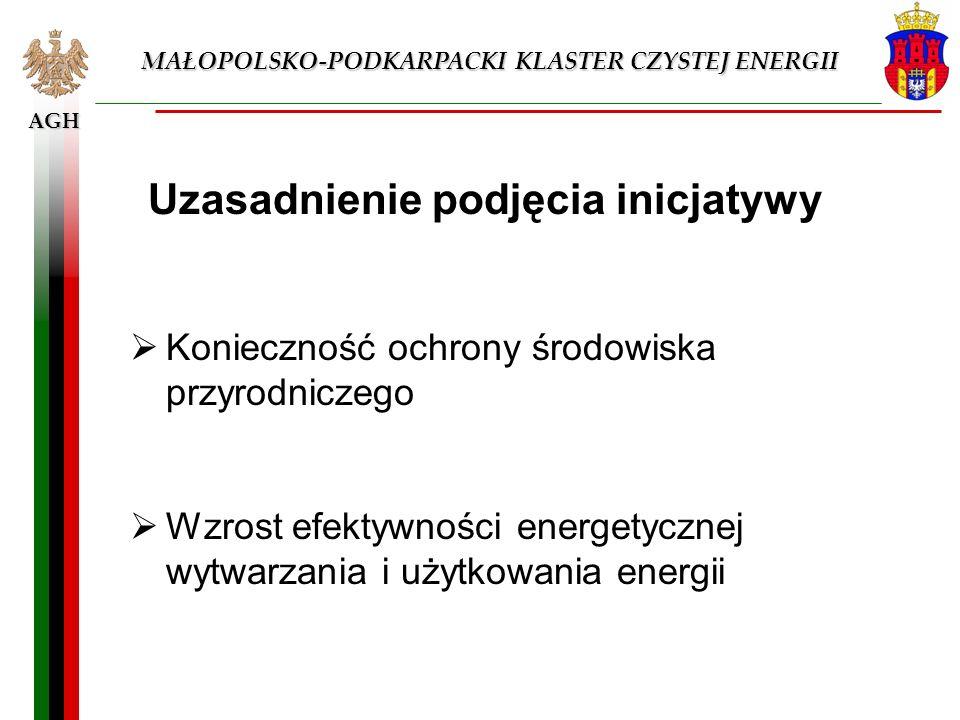 AGH MAŁOPOLSKO-PODKARPACKI KLASTER CZYSTEJ ENERGII Uzasadnienie podjęcia inicjatywy Konieczność ochrony środowiska przyrodniczego Wzrost efektywności