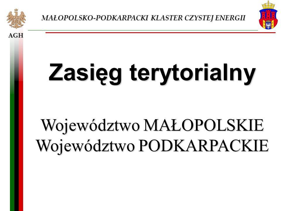 AGH MAŁOPOLSKO-PODKARPACKI KLASTER CZYSTEJ ENERGII Zasięg terytorialny Województwo MAŁOPOLSKIE Województwo PODKARPACKIE