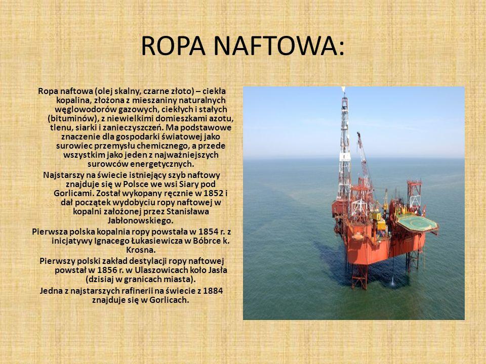 ROPA NAFTOWA: Ropa naftowa (olej skalny, czarne złoto) – ciekła kopalina, złożona z mieszaniny naturalnych węglowodorów gazowych, ciekłych i stałych (bituminów), z niewielkimi domieszkami azotu, tlenu, siarki i zanieczyszczeń.