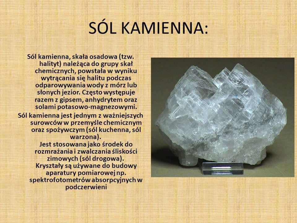 SÓL KAMIENNA: Sól kamienna, skała osadowa (tzw. halityt) należąca do grupy skał chemicznych, powstała w wyniku wytrącania się halitu podczas odparowyw
