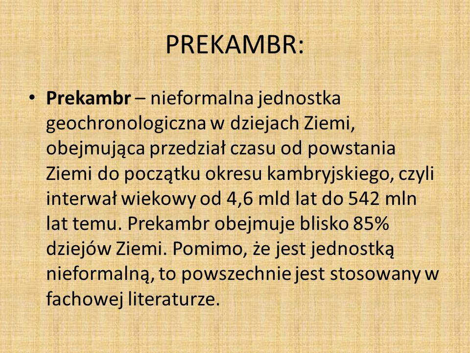 PREKAMBR: Prekambr – nieformalna jednostka geochronologiczna w dziejach Ziemi, obejmująca przedział czasu od powstania Ziemi do początku okresu kambryjskiego, czyli interwał wiekowy od 4,6 mld lat do 542 mln lat temu.