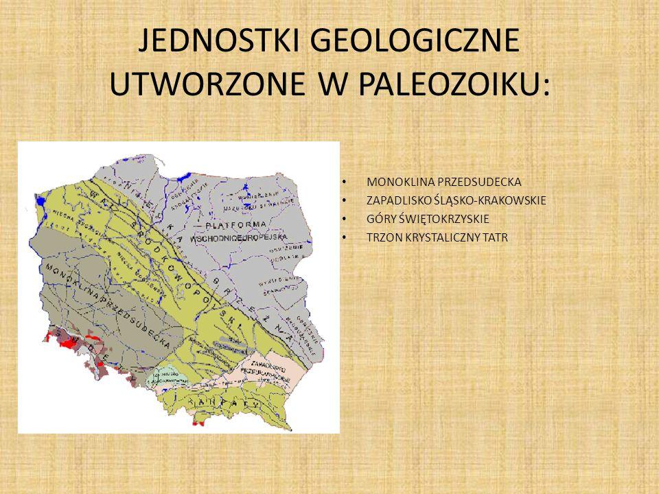 JEDNOSTKI GEOLOGICZNE UTWORZONE W PALEOZOIKU: MONOKLINA PRZEDSUDECKA ZAPADLISKO ŚLĄSKO-KRAKOWSKIE GÓRY ŚWIĘTOKRZYSKIE TRZON KRYSTALICZNY TATR