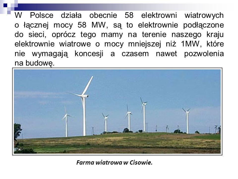 W Polsce działa obecnie 58 elektrowni wiatrowych o łącznej mocy 58 MW, są to elektrownie podłączone do sieci, oprócz tego mamy na terenie naszego kraj