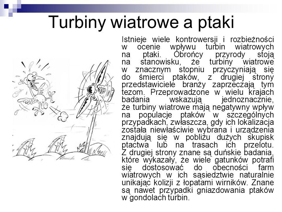 Turbiny wiatrowe a ptaki Istnieje wiele kontrowersji i rozbieżności w ocenie wpływu turbin wiatrowych na ptaki. Obrońcy przyrody stoją na stanowisku,