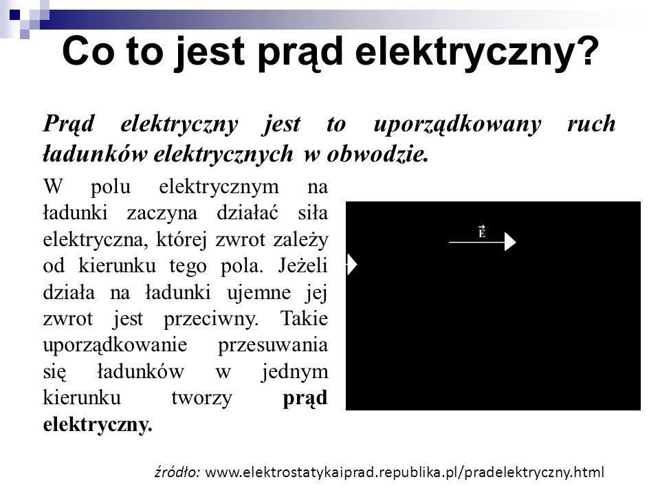 Co to jest prąd elektryczny? W polu elektrycznym na ładunki zaczyna działać siła elektryczna, której zwrot zależy od kierunku tego pola. Jeżeli działa