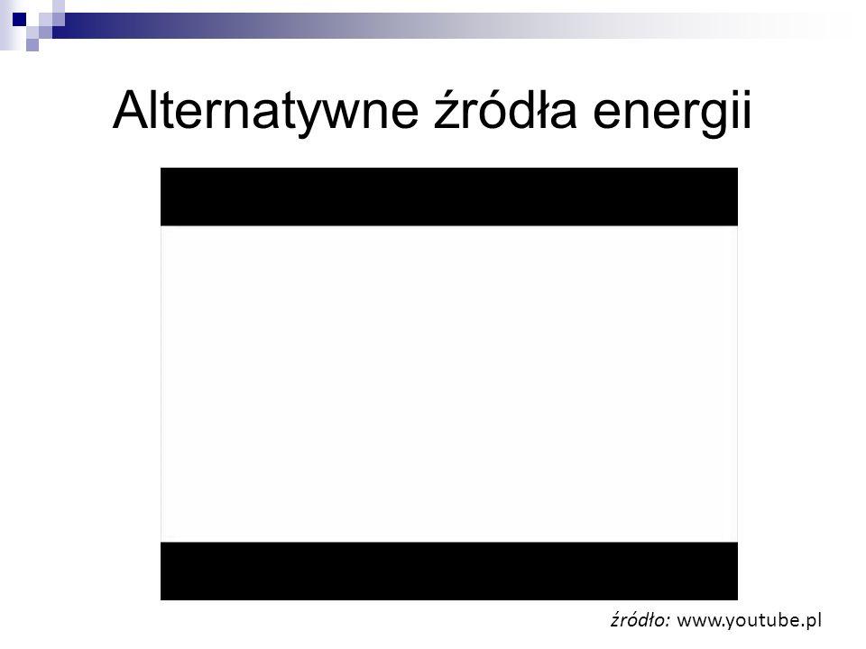 Alternatywne źródła energii źródło: www.youtube.pl