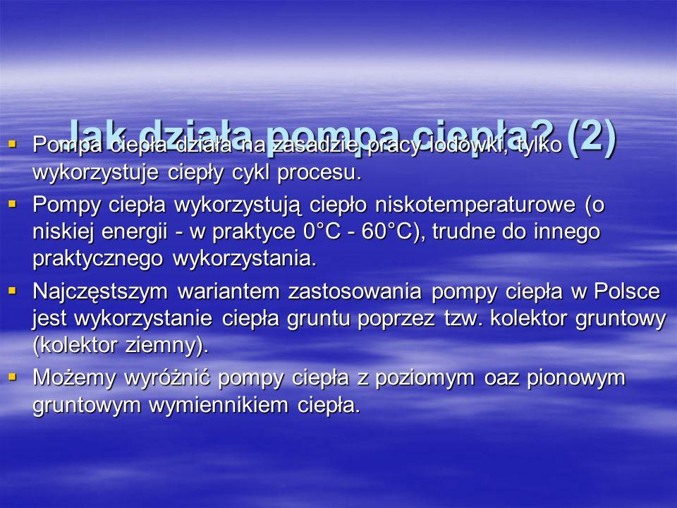 Jak działa pompa ciepła? (2) Pompa ciepła działa na zasadzie pracy lodówki, tylko wykorzystuje ciepły cykl procesu. Pompa ciepła działa na zasadzie pr