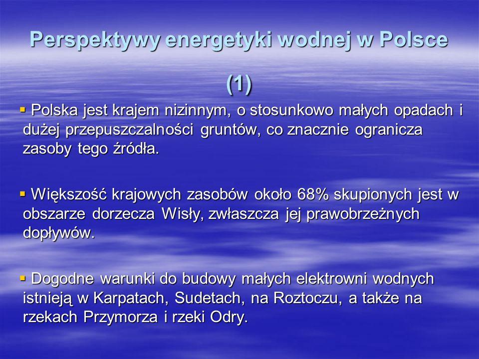 Perspektywy energetyki wodnej w Polsce (1) Polska jest krajem nizinnym, o stosunkowo małych opadach i dużej przepuszczalności gruntów, co znacznie ogr