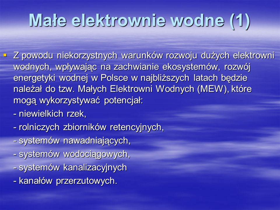 Małe elektrownie wodne (1) Z powodu niekorzystnych warunków rozwoju dużych elektrowni wodnych, wpływając na zachwianie ekosystemów, rozwój energetyki