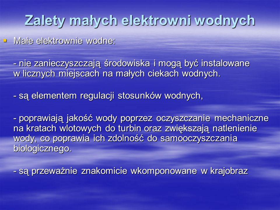 Zalety małych elektrowni wodnych Małe elektrownie wodne: Małe elektrownie wodne: - nie zanieczyszczają środowiska i mogą być instalowane w licznych mi
