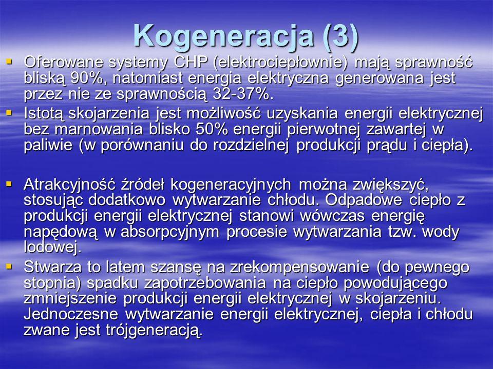 Kogeneracja (3) Oferowane systemy CHP (elektrociepłownie) mają sprawność bliską 90%, natomiast energia elektryczna generowana jest przez nie ze sprawn