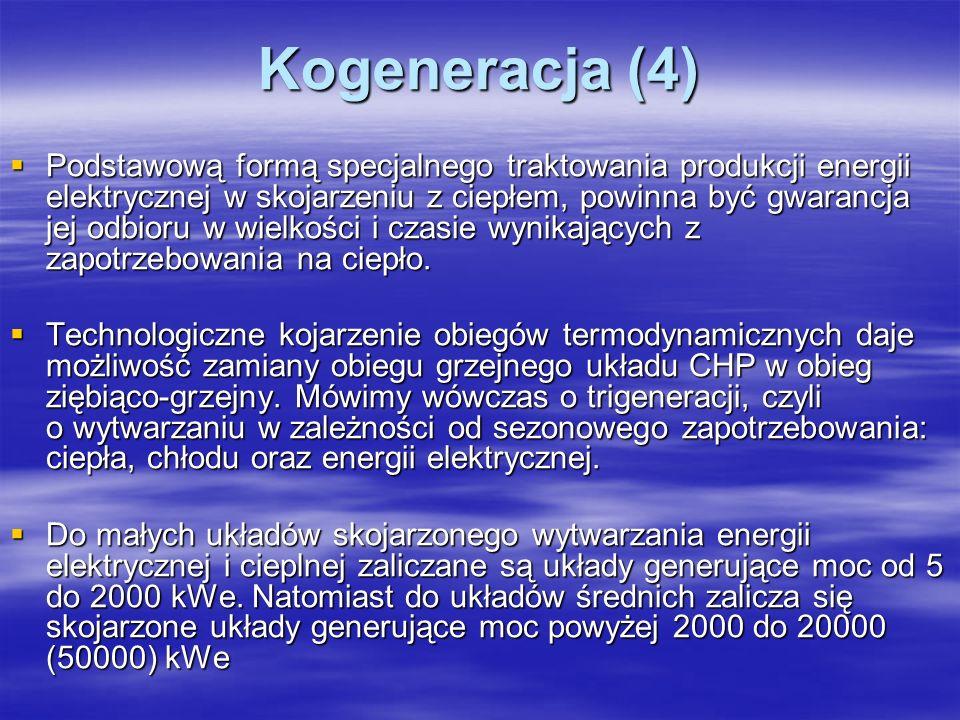 Kogeneracja (4) Podstawową formą specjalnego traktowania produkcji energii elektrycznej w skojarzeniu z ciepłem, powinna być gwarancja jej odbioru w w