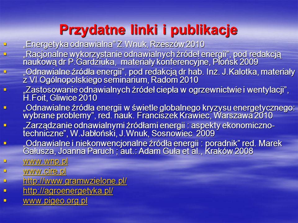 Przydatne linki i publikacje Energetyka odnawialna Z.Wnuk, Rzeszów 2010 Energetyka odnawialna Z.Wnuk, Rzeszów 2010 Racjonalne wykorzystanie odnawialny