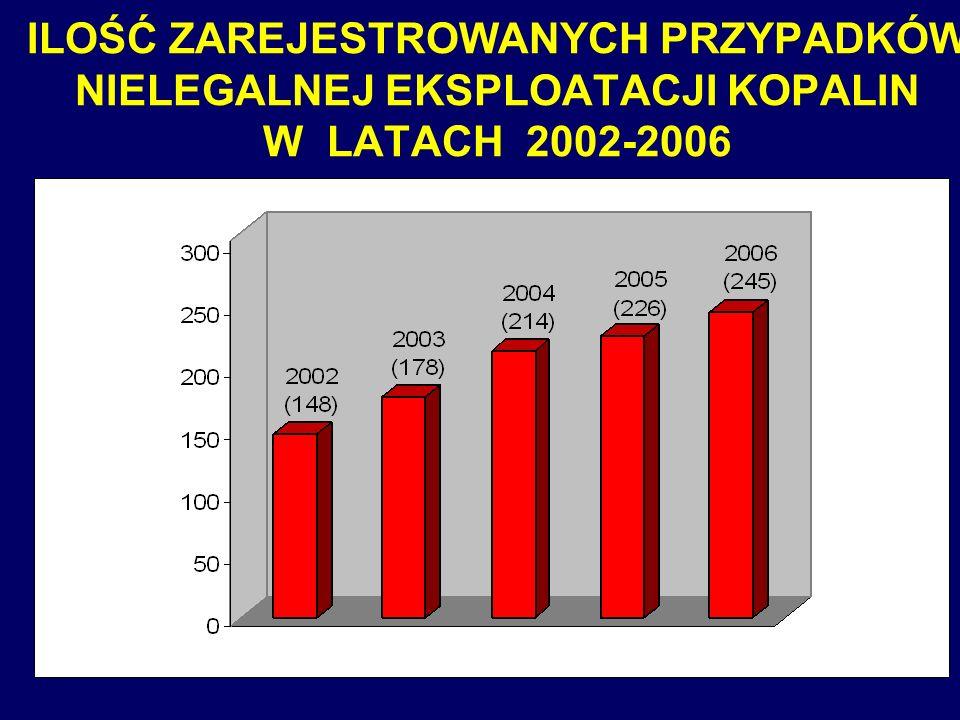 13 ILOŚĆ ZAREJESTROWANYCH PRZYPADKÓW NIELEGALNEJ EKSPLOATACJI KOPALIN W LATACH 2002-2006