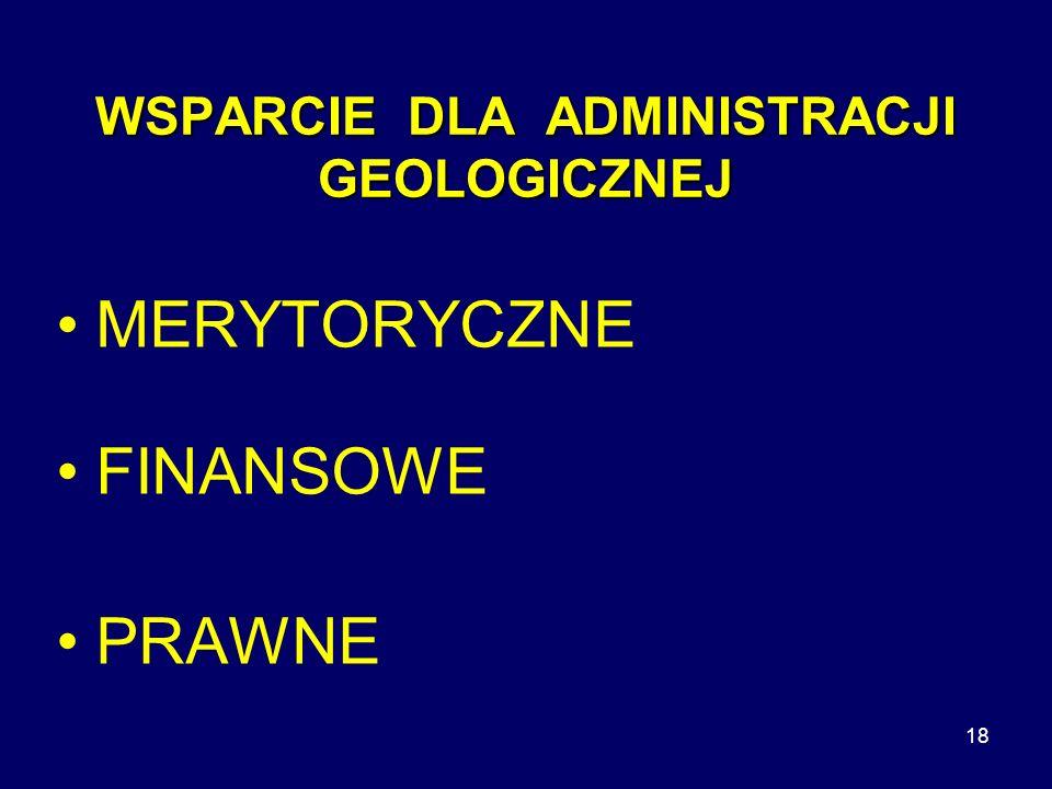 18 WSPARCIE DLA ADMINISTRACJI GEOLOGICZNEJ MERYTORYCZNE FINANSOWE PRAWNE