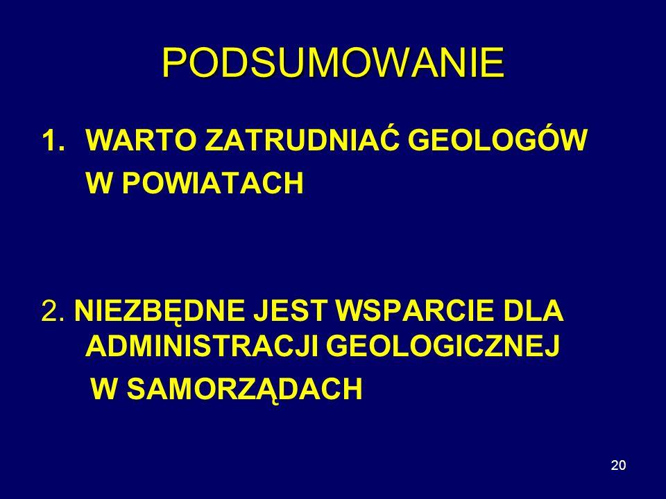 20 PODSUMOWANIE 1.WARTO ZATRUDNIAĆ GEOLOGÓW W POWIATACH 2.